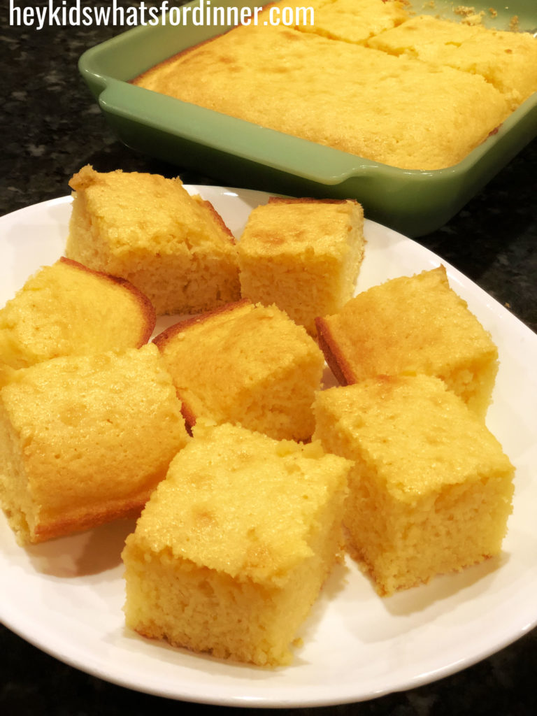 cornbread portions on a serving plate