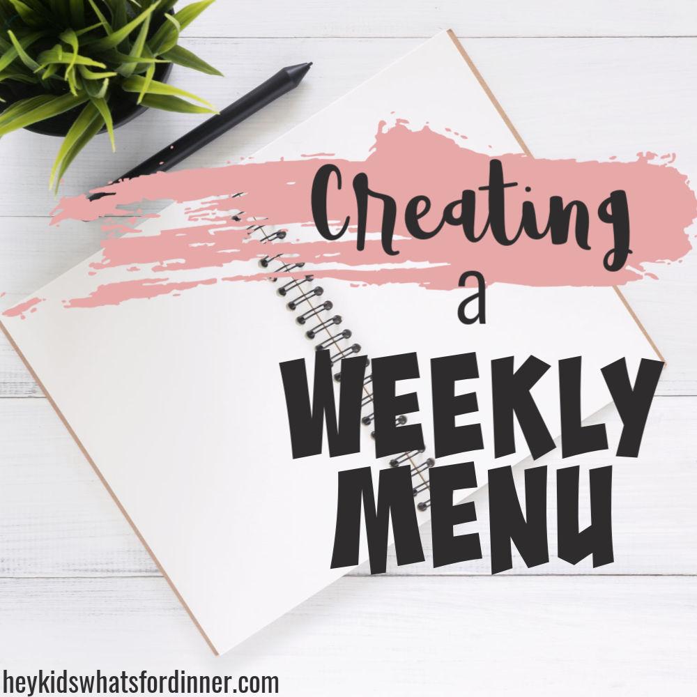 Creating a weekly menu