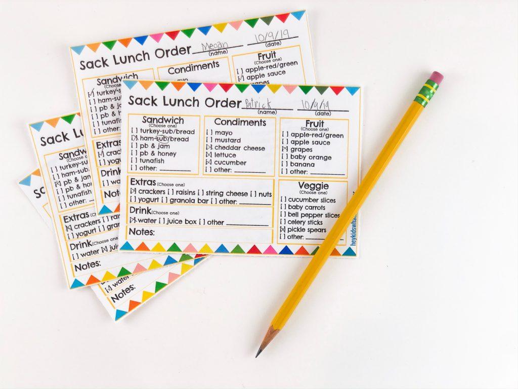 Sack lunch order form